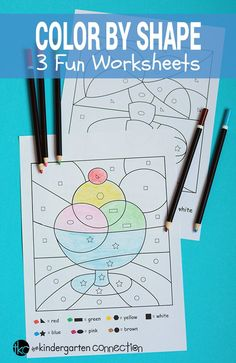 Make learning shapes tons of fun with these free color by shape printables. Similar to color by number, but with shapes instead! #kindergarten #preschool #prek #teachersfollowteachers #iteachtoo #summerfun