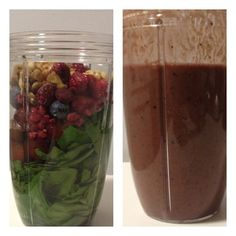 Getting familiar with my #NutriBullet. Before and after pics. Spinach, grapes, raspberries, blueberries and walnuts. Pretty tasty! #fitfluential #nutriblast