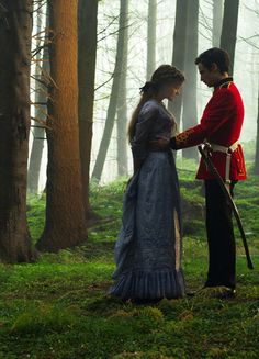 Bathsheba Everdene and Sergeant Frank Troy - Carey Mulligan and Tom Sturridge in Far from the Madding Crowd, set in Victorian England (2015).