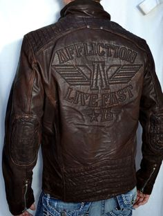 Affliction Shock Value Men's Leather Jacket Biker New Brown Best Leather Jackets, Men's Leather Jacket, Leather Men, Custom Leather, Revival Clothing, Men's Clothing, Brown Outfit, Men Closet, Stylish Mens Fashion