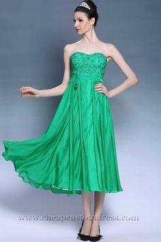 Tea Length Green Beaded Strapless Cocktail Homecoming Dresses : Cheapcustomdress.com