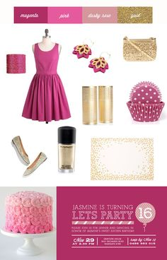 Sweet Sixteen - 16th birthday party colour scheme - magenta pink dusky rose and gold