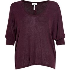 Splendid Red Eggplant Drape Lux Jersey Bat Wing Top ($77) ❤ liked on Polyvore