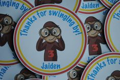 Curios George Favor tags $13.00 Curious George Party, Curious George Birthday, 2nd Birthday Parties, Birthday Ideas, Happy Birthday, Curios George, Arrow T Shirt, Party Themes, Party Ideas