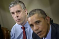 U.S. Secretary of Education Arne Duncan, left with President Obama after a meeting with the...