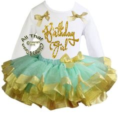 Mint and Gold Glitter Birthday Girl Satin Ribbon Birthday Tutu Outfits