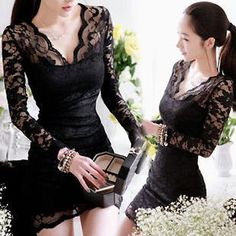 Women Sexy Long Sleeve Evening Party Cocktail Lace Mini Dress Clubwear Size s L New Dress, Lace Dress, Lace Tunic, Bon Look, Mini Dress Clubwear, Sexy Women, Chiffon, Slim, Nice Dresses
