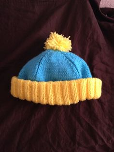Replica Cartman Pompom Hat by knitcreations86 on Etsy