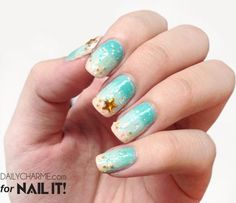 Nail Art How To: Dreamy Beach Nails! Summer Beach Nail Art | Sand | Starfish | Beads | Rhinestones | Ombre Teal Nails | Daily Charme Blog | Nail It Magazine