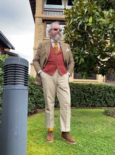 The Papa Bear of Men's Fashion Flannel Suit, Bowler Hat, Classic Wardrobe, Business Outfits, Dog Days, Dapper, Bespoke, Tweed, Men Dress