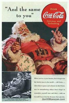 coca cola ads by norman rockwell Vintage Christmas Cards, Retro Christmas, Christmas Images, Vintage Holiday, Christmas Adverts, Father Christmas, Christmas Time, Christmas Stuff, Winter Christmas