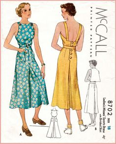 repro vintage women's sewing pattern // pinafore jumpsuit // beach summer sports // overalls wide culottes // bust 32 34 36 38 40 - Fashion Vintage Stil, Vintage Mode, Vintage Ladies, 1930s Fashion, Retro Fashion, Vintage Fashion, Fashion Top, Fashion 2018, Womens Fashion