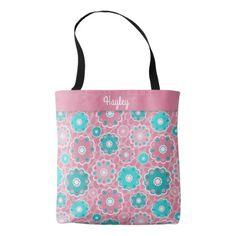 #monogram - #Fresh fabulous pink aqua floral monogram tote bag