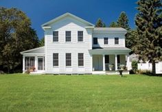 New Greek Revival Farmhouse. After some renovations, this Greek Revival Farmhouse in Michigan's Upper Peninsula was just the spot to settle down. Greek Revival Architecture, Farmhouse Architecture, Farmhouse Interior, Country Farmhouse, Modern Farmhouse, Vernacular Architecture, Farmhouse Remodel, Greek Revival Home, Farmhouse Floor Plans