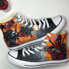 "a633a262db26 Ange Lord on Instagram  ""Deadpool personalised fully painted Converse Have  a great week all ❤  angelusdirect  angelusheritage  princetonbrush  converse …"""