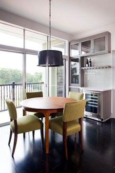 Beverage area: simple, small sink, upper closed cabinet (no windows), coffee/tea, & adult beverages, beverage fridge