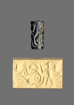 Cylinder Seal 1300-1150 BC Late Cypriot IIIA/Late Cypriot IIC Cylinder seal engraved with a scene of man and woman having sexual intercourse; both their hands end in twigs. On the left is a crouching lion, and in the field are four dots. (Source: The British Museum)