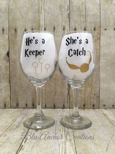 Shes a Catch Hes a Keeper Wedding Gifts Couples Gifts 11oz Wine Glass and 16oz Beer Mug Engraved Beer Mug and Wine Glass Set
