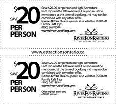 RiverRun Rafting & Wilderness Resort - 2015 Summer Coupon Ontario Attractions, Ottawa River, Wilderness Resort, Resort 2015, Rafting, Summer 2015, Coupons, Adventure, Coupon