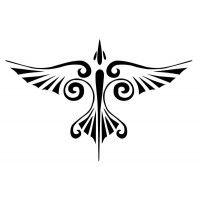 Pochoir pour tatouage d'un Phénix en plein vol et au style tribal. Il symbolise le désir de liberté et la résurrection. Dimensions du motif sur la peau : 8 cm x 5 cm