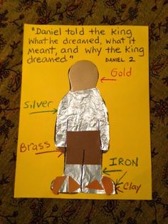 Summer Sunday School lesson: Children's Bible Lessons: Lesson - King Nebuchadnezzar Dreams About The Great Image Sunday School Activities, Church Activities, Bible Activities, Sunday School Lessons, Sunday School Crafts, Daniel Bible Crafts, Bible Crafts For Kids, Bible Study For Kids, Bible Lessons For Kids