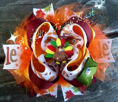 """5"""" Thanksgiving """"Gobble"""" Boutique Stacked bow with turkey resin center and marabou"""
