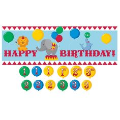 Circus Time Giant Party Banner with Stickers/Case of 6
