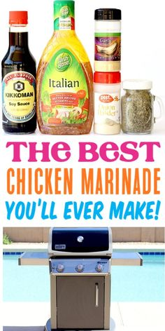Recipes Snacks Easy Chicken Marinade for the Grill or Baked in the Oven! Delicious marinades are the key to moist chicken, and this one has just 5 Ingredients! Healthy and SO yummy! Go grab the recipe, and give it a try! Chicken Kabob Marinade, Marinade Sauce, Chicken Marinate, Moist Chicken, Grilled Chicken Recipes, Grilled Meat, Healthy Chicken, Homemade Marinades For Chicken, Appetizers