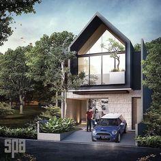 ideas for house facade modern patio D House, House Roof, Facade House, Roof Design, Facade Design, Exterior Design, Asian House, Townhouse Designs, Tree House Designs