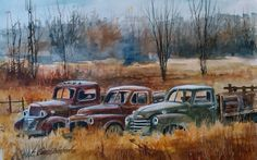 """""""Riverbottom Nursing Home"""" . by Lance Johnson Car Painting, Painting & Drawing, Watercolor Paintings, Watercolors, Vintage Trucks, Old Trucks, Semi Trucks, Pin Up Girls, Pictures To Paint"""