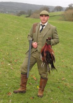 hunting tweed style.  Gamekeepers on estates always dress in this manner.  Tradition!