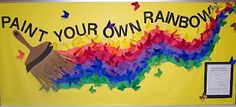 """Paint Your Own Rainbow"" bulletin board display ~~~~~~~~~~~~~~~~~~~~~~~~~~~~~  ""Trying to encourage kids to reach for their dreams each student wrote one goal/dream on the back of a butterfly and then colored the other side. The butterfly was to be anonymous.  I hung the butterflies up on the bulletin board and told the kids to think about their goal or dream every time they walked by the bulletin board."" (from the website)"