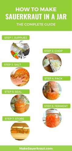 Here's how to make a good jar of homemade sauerkraut for kids and adults alike. This complete guide will show you the step-by-step process from preparing the materials and tools, chopping the cabbage and veggies, adding the right amount of salt, packing and submerging the sauerkraut in brine, the fermentation process, and even how to eat and enjoy your favorite probiotic sauerkraut. Get a printable recipe! #guthealth