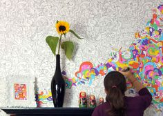 <b>Plain old wallpaper is pass&eacute;</b> Check out these funky wall treatments that use everything from paint chips to Post-It notes. Wallpaper Doodle, Book Wallpaper, Paintable Wallpaper, Wallpaper Decor, Painting Wallpaper, Doodle Wall, Unique House Design, Idee Diy, Family Room Design