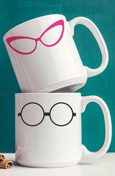 Eyedolatry Gifts For Glasses Lovers: 'Geek Glasses' Ceramic Mugs (Set of 2)