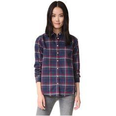 DL1961 The Blue Shirt Shop Mercer & Spring Shirt (€140) ❤ liked on Polyvore featuring tops, curved hem shirt, plaid flannel shirt, lightweight shirt, patch shirt and long sleeve tops