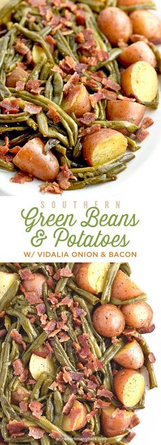 Southern Recipes Southern Green Beans and Potatoes with Vidalia Onion and Bacon Recipe Bacon Recipes, Vegetable Recipes, Cooking Recipes, Healthy Recipes, Beans Recipes, Healthy Food, Southern Green Beans, Southern Greens, Ceviche
