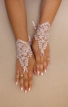 Wedding Gloves light pink lace gloves Fingerless by WEDDINGHome, $25.00