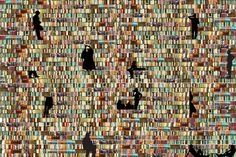 walls of books - Google Search