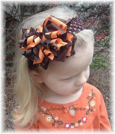 Fall Thanksgiving Pumpkin Orange Brown Double Ruffle Dots Hair Bow Hairbow Headband Bowband Or Clip Autumn via Etsy Baby Girl Hair Bows, Girls Bows, Baby Headbands, Ribbon Hair Bows, Diy Hair Bows, Thanksgiving Hair Bows, Holiday Hair Bows, Halloween Bows, Hair Bow Tutorial