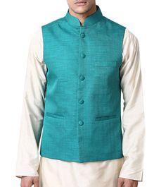 Blue Silk Nehru Jacket