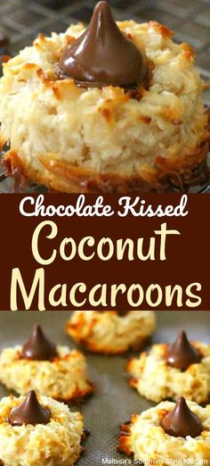 These Chocolate Kissed Coconut Macaroons are a spinoff combining classic macaroons and blossom cookies. The simple cookie dough for the. Holiday Baking, Christmas Baking, Christmas Desserts, Christmas Chocolate, Christmas Cookie Recipes, Christmas Cookies, Easter Cookie Recipes, Holiday Cookie Recipes, Köstliche Desserts