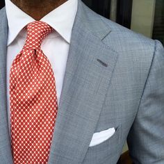 Our design team at Giorgenti New York are on top of all best men's fashions trends. For a custom perfectly tailored men's suit like this slate grey/blue with red tie and white shirt come see us in our private New York showroom. Mens Fashion Suits, Mens Suits, Style Gentleman, Terno Slim, Mode Man, Suit Combinations, Mode Costume, Style Masculin, Men Formal