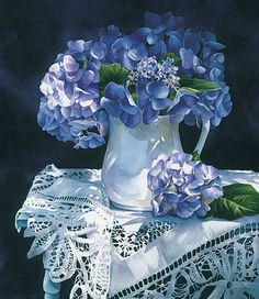 Hydrangeas in a white pitcher...pretty for the kitchen table