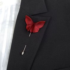 Red Butterfly Christmas Wedding Boutonniere Lapel Pin Stick Pin Corsage Buttonhole Small Size GROUP DISCOUNT AVAILABLE