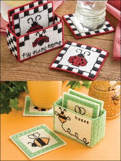 Don't Bug Me Plastic Canvas Pattern Download from e-PatternsCentral.com -- Busy winged friends help keep your tabletops safe.