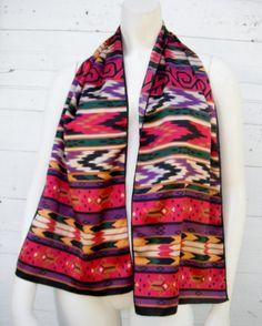 15 OFF SALE 1970s Native print scarf by ArieleSierraDesigns, $12.99