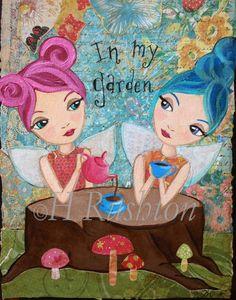 Children Decor Fairy Tea Party Art  Whimsical Mixed by hrushton, $18.00