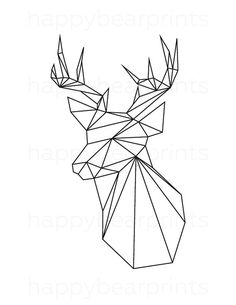 Geometric Deer Black Deer Geometric Animal Origami Print