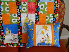 Quilted Dr Seuss Pillow   Green Eggs and Ham  by BattyQuilter, $20.00
